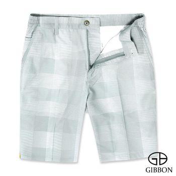 GIBBON 彈性格紋時尚休閒短褲‧灰色M-3XL