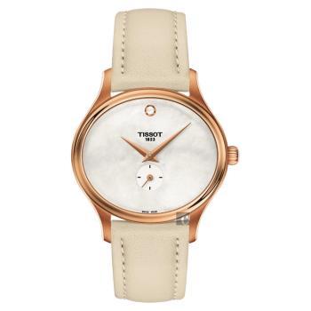 TISSOT天梭 BELLA ORA 系列小秒針女錶 珍珠貝x米色 31mm T1033103611100