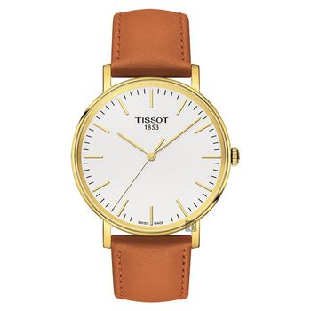 TISSOT 天梭 Everytime 經典雋永手錶 金框x棕 38mm T1094103603100