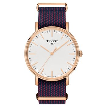 TISSOT 天梭 Everytime 經典雋永手錶 玫瑰金框x紅藍 38mm T1094103803100