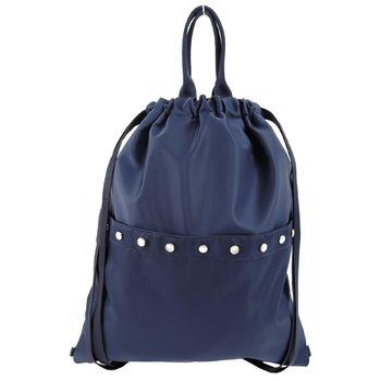 agnes b. 水晶貼飾尼龍輕便束口後背包(藍)