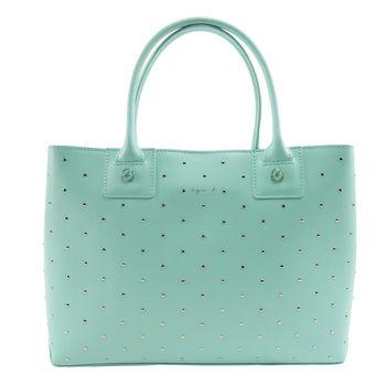agnes b. 滿版鉚釘裝飾三層手提包(粉綠)