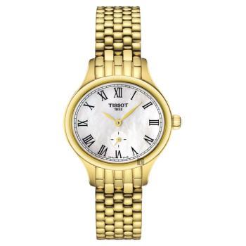TISSOT 天梭 Bella Ora 臻時系列小秒針女錶 珍珠貝x金 27mm T1031103311300