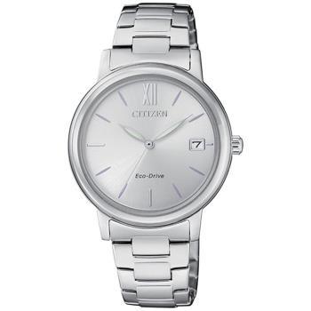 【CITIZEN 星辰】簡約優雅時尚光動能女腕錶-銀(FE6090-85A)