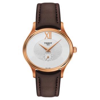 TISSOT天梭 BELLA ORA 系列小秒針女錶 玫塊金框x咖啡色 31mm T1033103603300