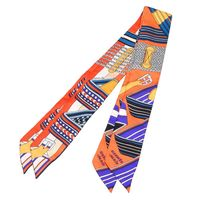 HERMES 愛馬仕Sangles en Zigzag皮帶圖案Twilly絲巾領結(橘X紫-一組兩條)