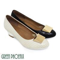 GREEN PHOENIX BIS-VITAL_都會時尚直條凸紋金屬方形義大利羊皮楔型包鞋-米色、黑色