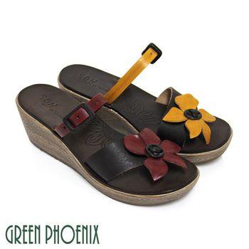 GREEN PHOENIX 大朵花寬版帶裝飾皮扣全真皮楔型夾腳拖鞋-紅色、黃色
