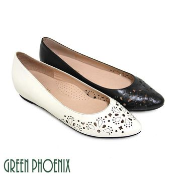 GREEN PHOENIX 雷射雕花幾何圖形全真皮尖頭平底娃娃鞋-米色、黑色