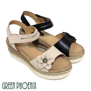 GREEN PHOENIX 寬版花朵麻繩沾黏式全真皮厚底涼鞋-米色、黑色