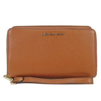 Michael Kors Adele 鵝卵石皮革雙拉鍊零錢/手機包(棕色)