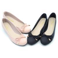 【 cher美鞋】MIT俏麗小蝴蝶結圓頭低跟鞋-黑色/粉色-LRQSP-HI