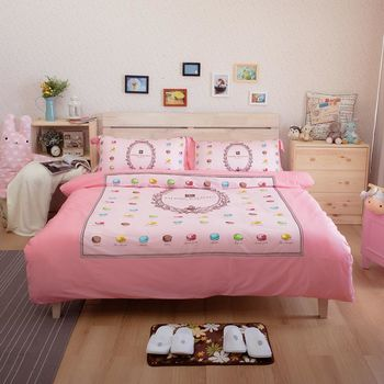 Ally 皮爾帕門雙人加大四件式粉紅馬卡龍純棉床包被套組