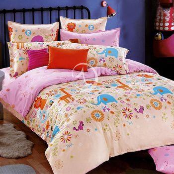 卡莎蘭 粉妙樂園 加大純棉四件式二用被床包組