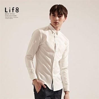 Life8-品牌限定。極緻電繡8。經典牛津襯衫-03798-白色