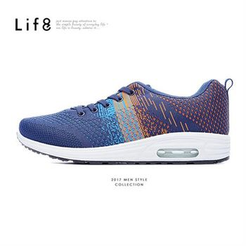 Life8-MIT。三色飛織布。AIR CUSHION運動鞋-09511-藍橘