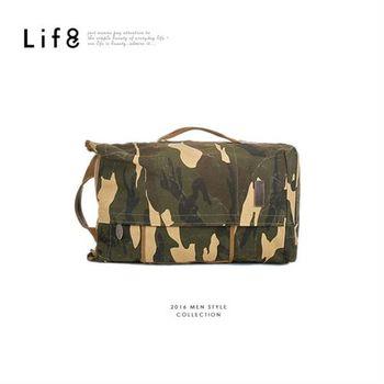 Life8-大容量。2WAY街頭個性圓桶包-06339-迷彩
