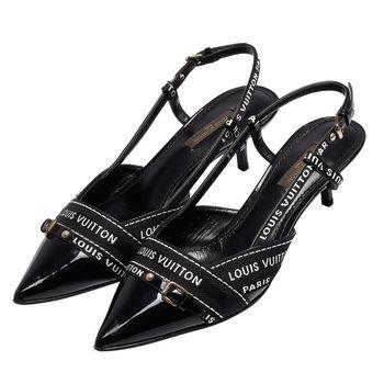 LV NQ0057黑色漆皮緞帶飾邊尖頭細跟涼鞋(黑-37號_展示品)