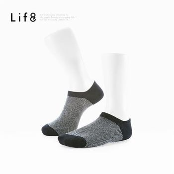 任-Life8-Home 針織紋精梳棉 輕薄型船型襪-93027-灰