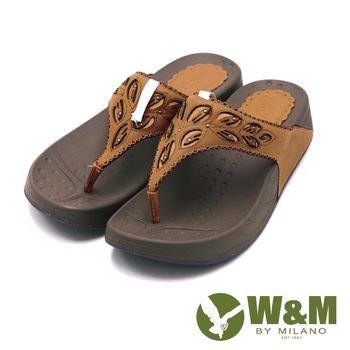W&M 素色雕花厚底夾腳拖鞋 女鞋-杏(另有深藍、桃)