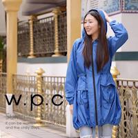 w.p.c個性軍裝款 時尚雨衣/風衣(R1040)-寶藍