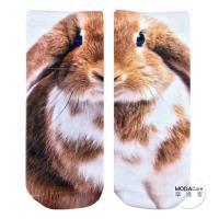 摩達客 美國進口Living Royal大耳胖兔 短襪腳踝襪彈性襪動物圖案襪