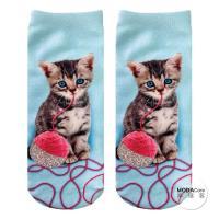 摩達客 美國進口Living Royal閃亮線球貓 短襪腳踝襪彈性襪動物圖案襪