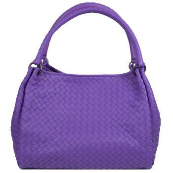 BOTTEGA VENETA 222322 經典手工編織小羊皮雙把肩背包.紫羅蘭