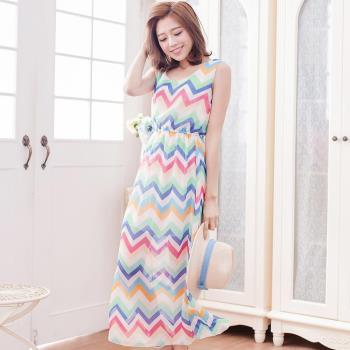 【lingling】雪紡花色背心長版洋裝(彩色曲紋)A3012-25
