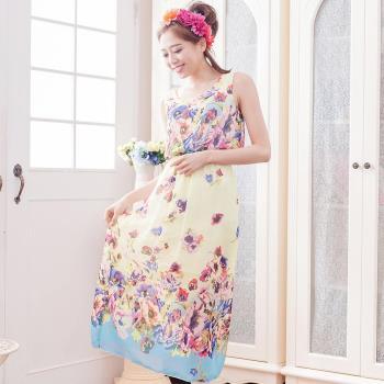 【lingling】雪紡花色背心長版洋裝(彩蘭杏底)A3012-17
