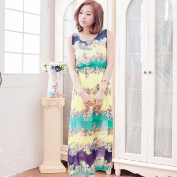【lingling】雪紡花色背心長版洋裝(海棠黃紫藍綠底)A3012-15