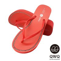QWQ夾拖的創意(女) - 慛燦面鑽 全素面施華洛世奇鑽鍊6cm夾腳拖鞋 - 搖滾紅