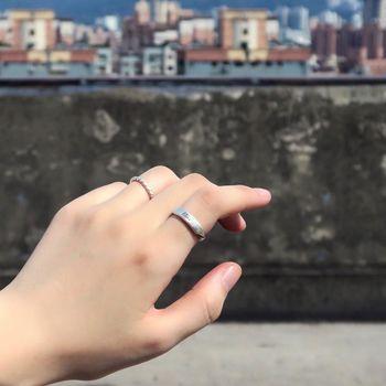 ART64 戒指訂製 方晶格-黑麻花平版刻字戒(霧面) 純銀戒指