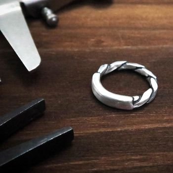 ART64- 戒指 方晶格-黑麻花平版戒(霧面) 純銀戒指