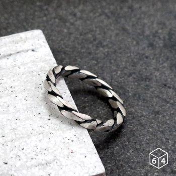 ART64 戒指 方晶格-黑麻花 純銀戒指(單只)