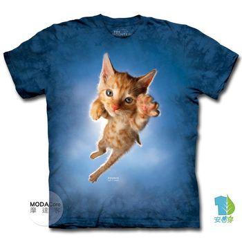 摩達客 美國進口The Mountain 藍跳躍撲小貓 純棉環保短袖T恤 預購