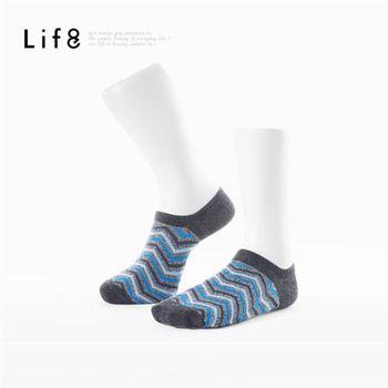 任-Life8-Home 山型紋精梳棉 輕薄型船型襪-93028-藍