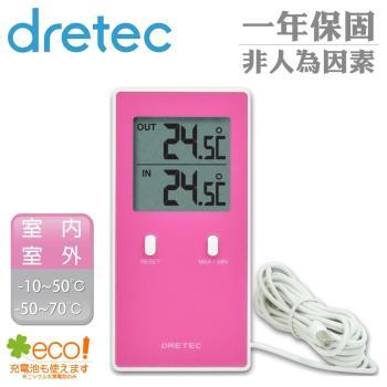 dretec--室內室外雙顯示長型溫度計-粉