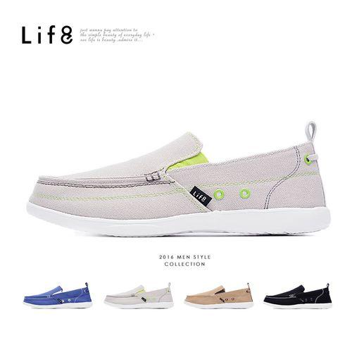 Life8-輕量。水洗帆布。率性樂福休閒鞋-09499-四色