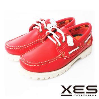 XES 白底雷根帆船鞋 經典不敗手工鞋 _紅色