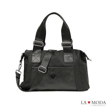 La Moda 出國旅行運動必備超大容量真皮牛皮防潑水多功能包