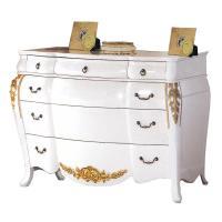 H&D 艾麗絲3.6尺法式象牙白金邊六斗櫃