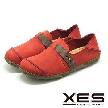 XES 皮帶扣素色樂福鞋 MIT 二穿式寬楦鞋 _紅色