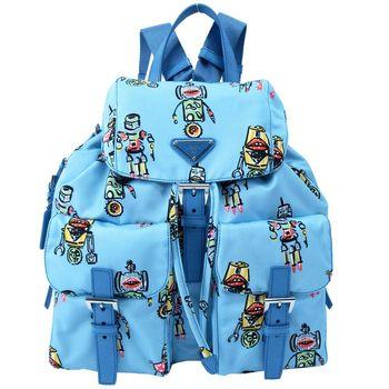 PRADA 機器人印花雙口袋翻蓋後背包(粉藍)