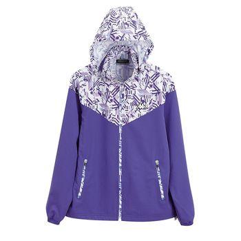 KAPPA義大利 女平織慢跑四面彈風衣外套(可拆帽) 羅蘭紫FC72-C846-9