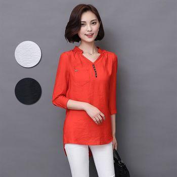 【A3】優雅率性V領衫-長版上衣(橘色/黑色/白色)3色選 M-XXL