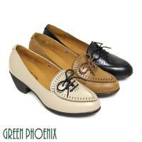 GREEN PHOENIX 唯美花邊雷射雕花綁帶全真皮粗跟牛津鞋-棕色、米色、黑色