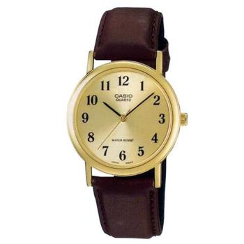 CASIO 簡約皮帶紳士腕錶-黃面x咖啡(MTP-1095Q-9B1)