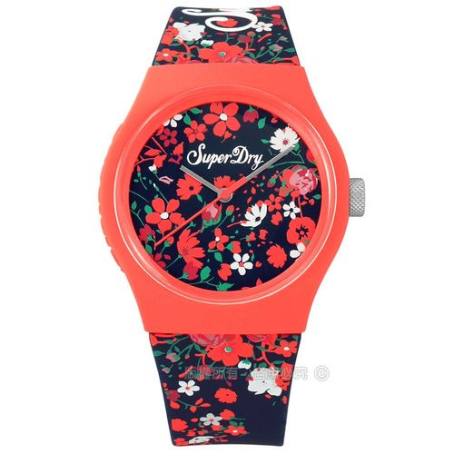 Superdry 極度乾燥 / SYL177UO / 特色小碎花品牌LOGO矽膠手錶 深藍x粉橘框 38mm