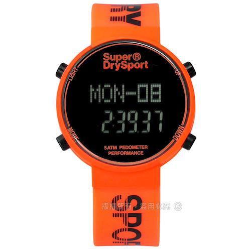 Superdry 極度乾燥 / SYG203O / 休閒時尚電子計步器卡路里矽膠手錶 橘色 40mm